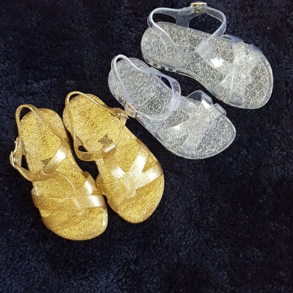 Old Navy Toddler Girls Size 6 7 8 Gold Sparkle Jelly Sandals Shoes NWT